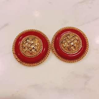 Vintage 1980s large red enamel clip earrings 八十年代超大紅色琺瑯耳環耳夾