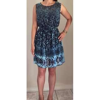 BILLIE & BLOSSOM Blue Black Leopard Animal Print Blouson Knee Length Dress Sz 12