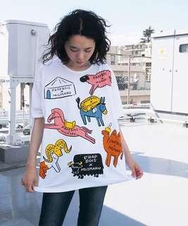 🈹💥🈹💥 FRAPBOIS❤️ 絕版 白色動物園圖案 半袖Tシャツ top tee  FB