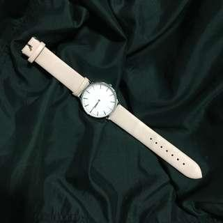Baby Pink and Silver Analog Leather Watch