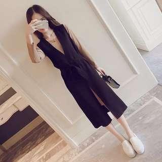 秋裝兩件套裝!🍁淺啡短裙配黑色工人裙