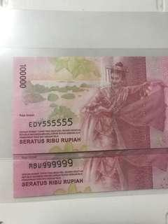 (555555 & 999999) solid number Indonesian 100 Thousand Unc Note