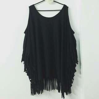 🚚 黑色流蘇上衣 #十月女裝半價