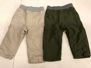 UNIQLO Baby / Toddler warm lined pants Khaki / Beige 80
