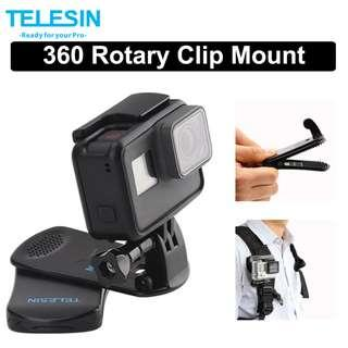 TELESIN Action Camera 360 Rotary Clip Clamp Mount Backpack Bag Strap for GoPro / SJCAM / Xiaomi Yi Action Camera Accessories