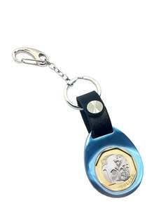 BN blue keyring with black leather strap