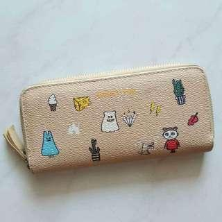 Wallet with cartoon stamps