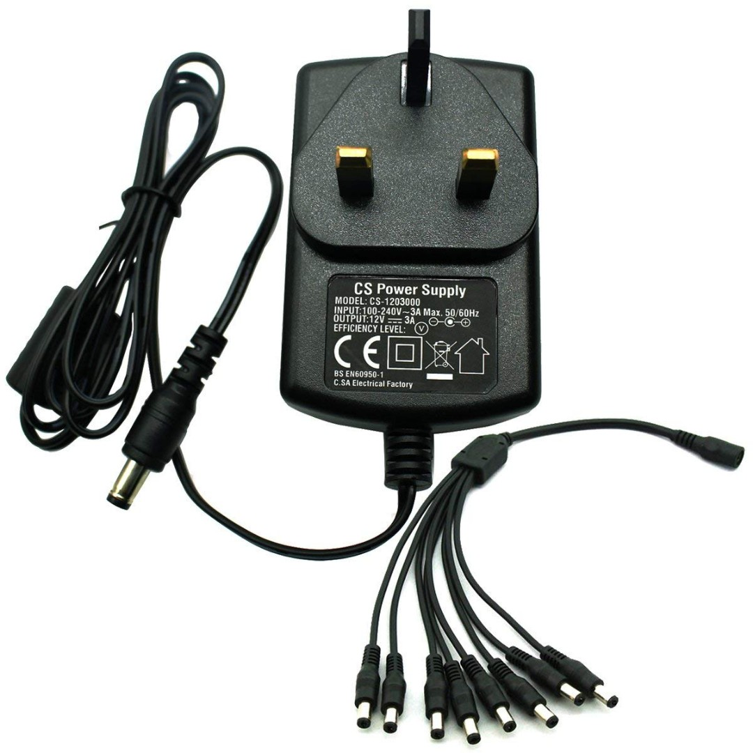 458 AC 100-240V to DC 12V 3A Power Adapter Supply For CCTV Cameras DVR NVR  LED Light Strip 5 5 * 2 1mm CE BS (12 Volt 3Amp)