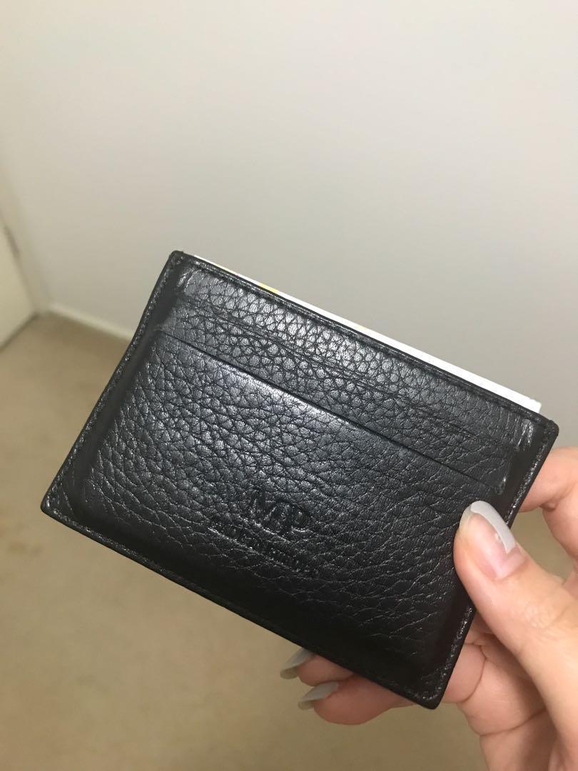 Black genuine leather cardholder