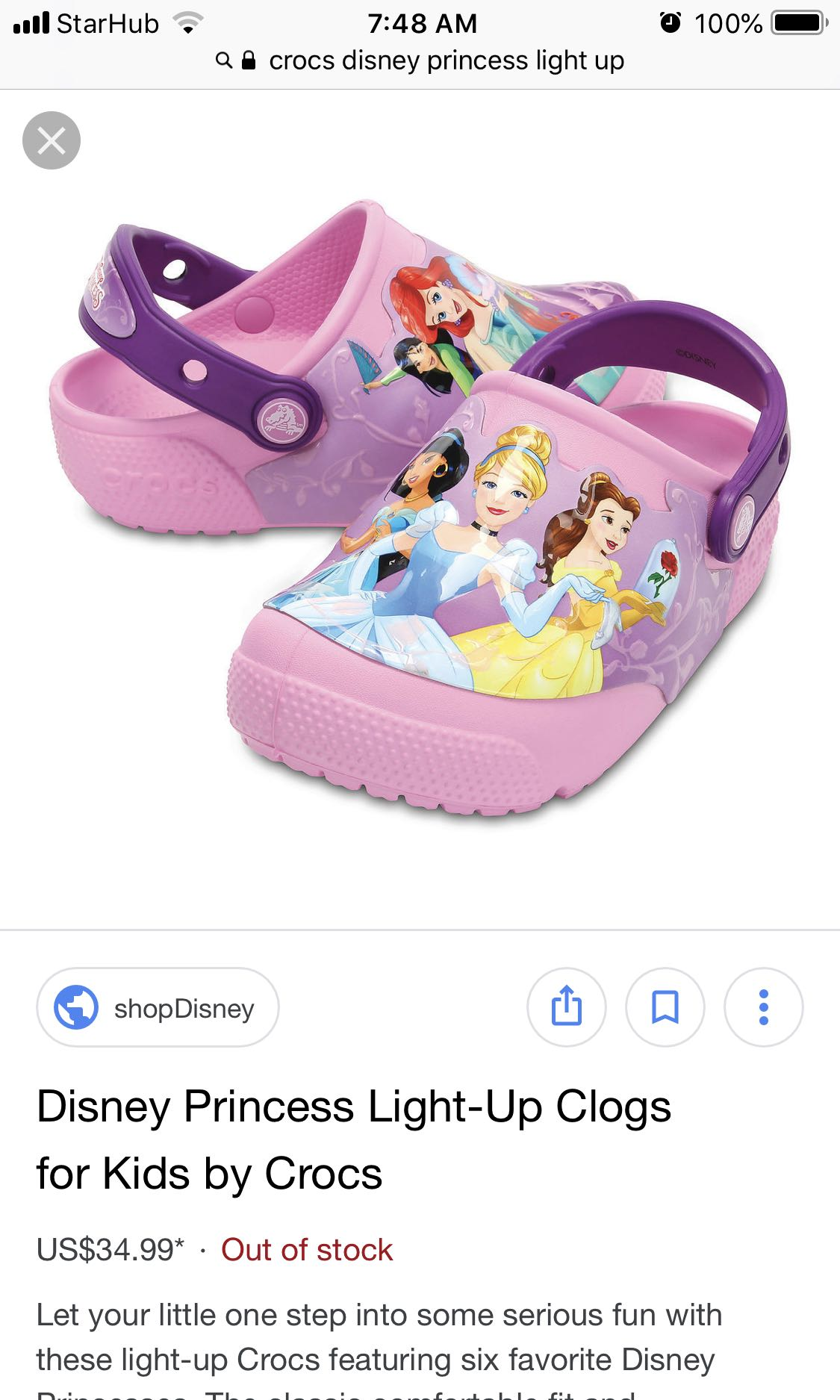 Crocs Disney Princess Light up Sandals