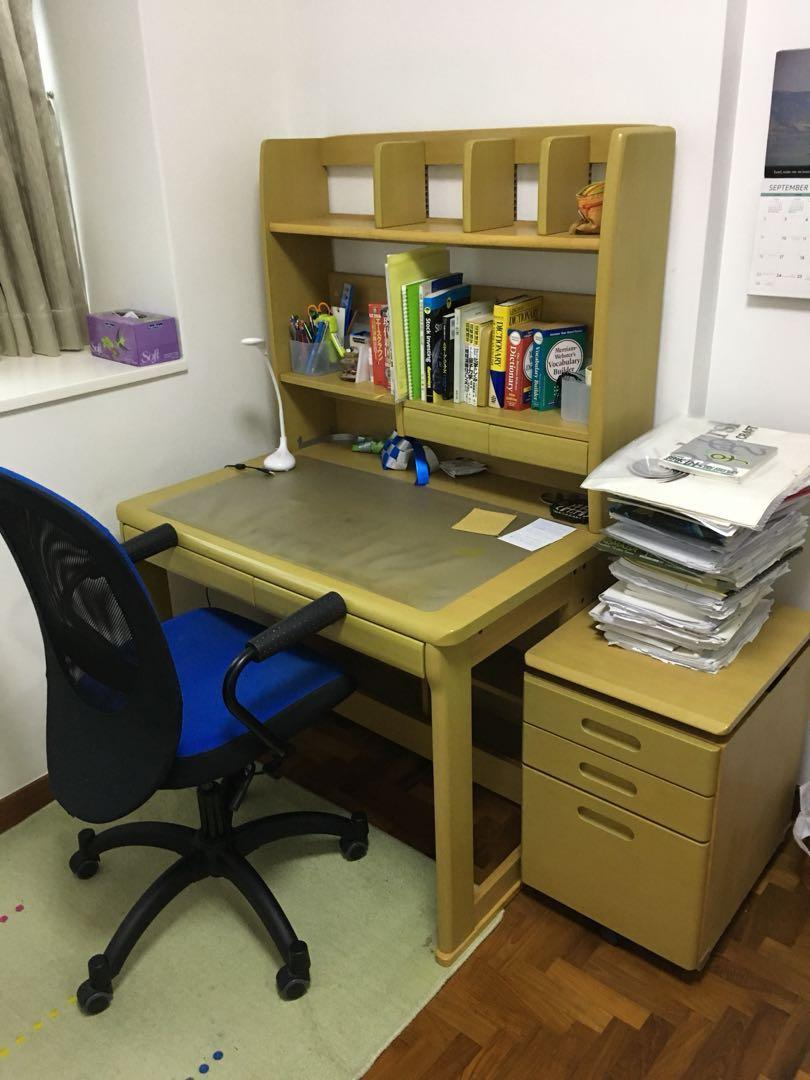 Japanese Brand Study Desk Side Cabinet And Chair Furniture