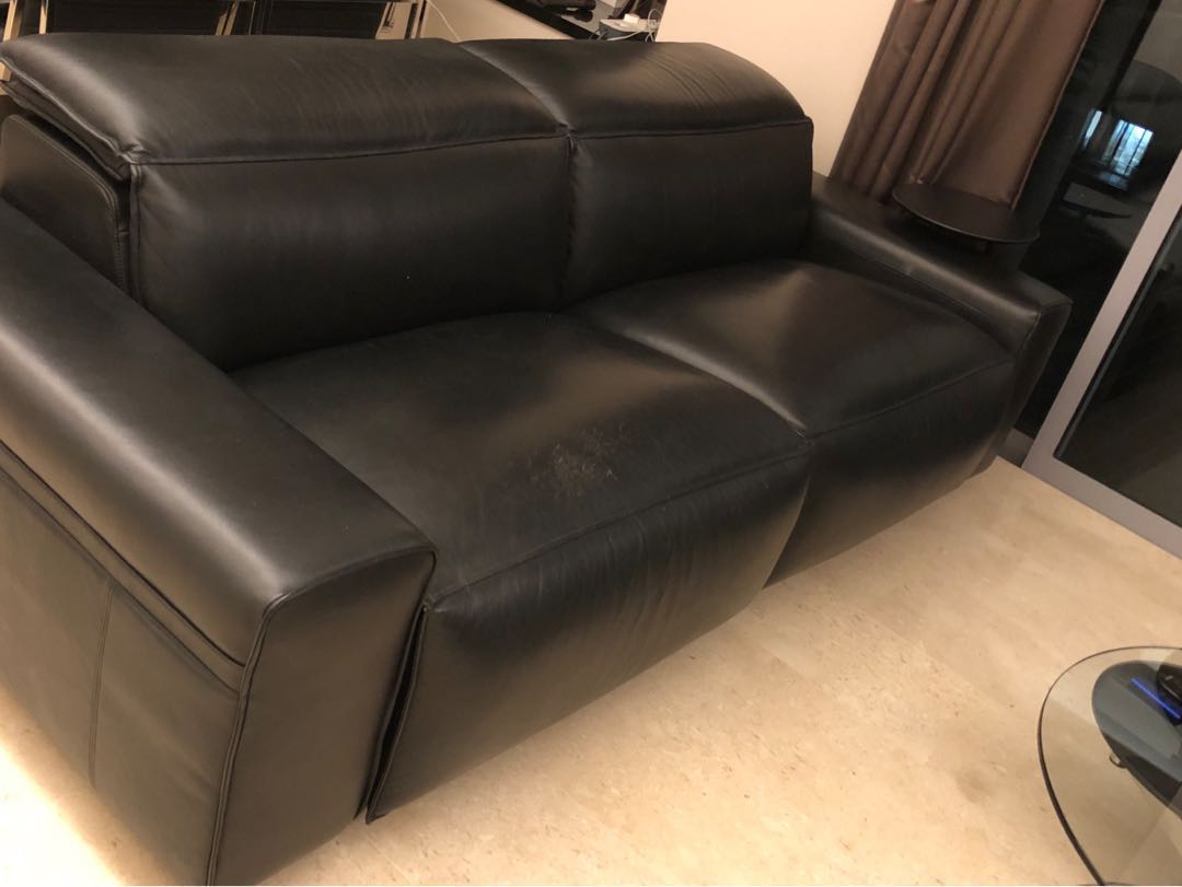 King Living Leather Electronic Recliner Lounge Black Furniture