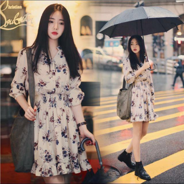 Korean Long Sleeve Floral Chiffon Dress Women S Fashion Clothes