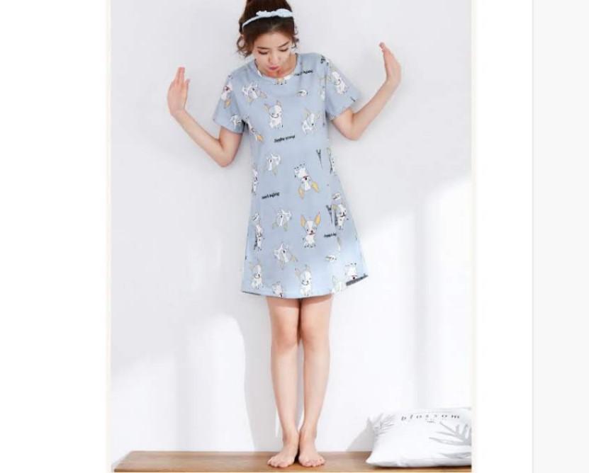 b86b10b1b03 Korean style adorable dog blue pyjamas home nightwear night dress ...