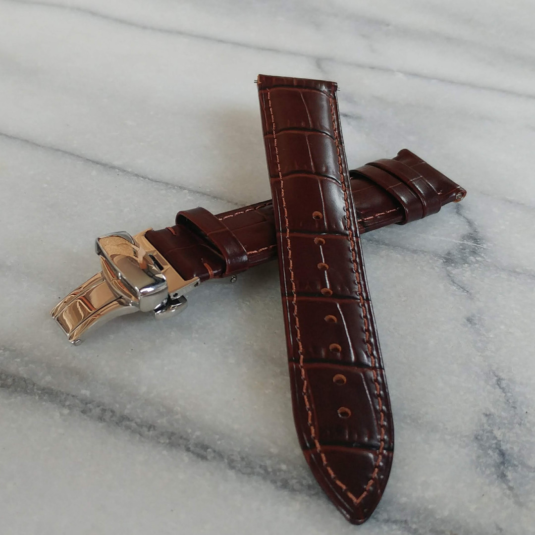 76671819e72 Leather Watch Strap - Brown Alligator Embossed Genuine Leather Watch Strap  with Deployment Clasp