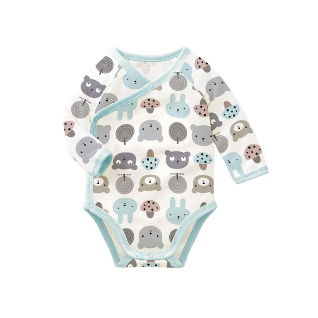 450c07eb0 Long Sleeve Baby Romper - Rabbits and Bears Blue  PO    Cute Romper ...