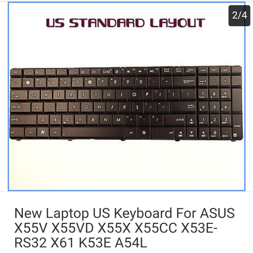 New Laptop US Keyboard For ASUS X55V X55VD X55X X55CC X53E-RS32 X61 K53E A54L