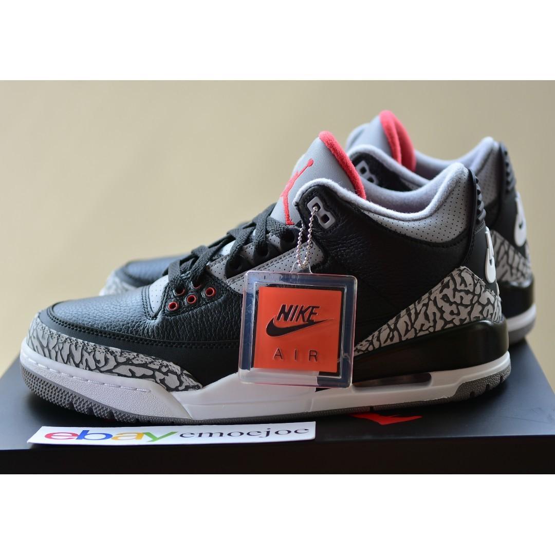 more photos 7c26d 7d342 Nike Air Jordan 3 Black Cement 9 US, Men's Fashion, Footwear ...