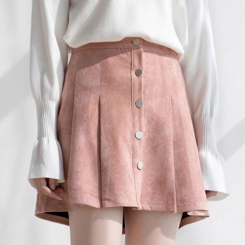 e62c378cd1 Pink Suede Skirt Pleated tennis AA A Line Button Down Skirt denim ...