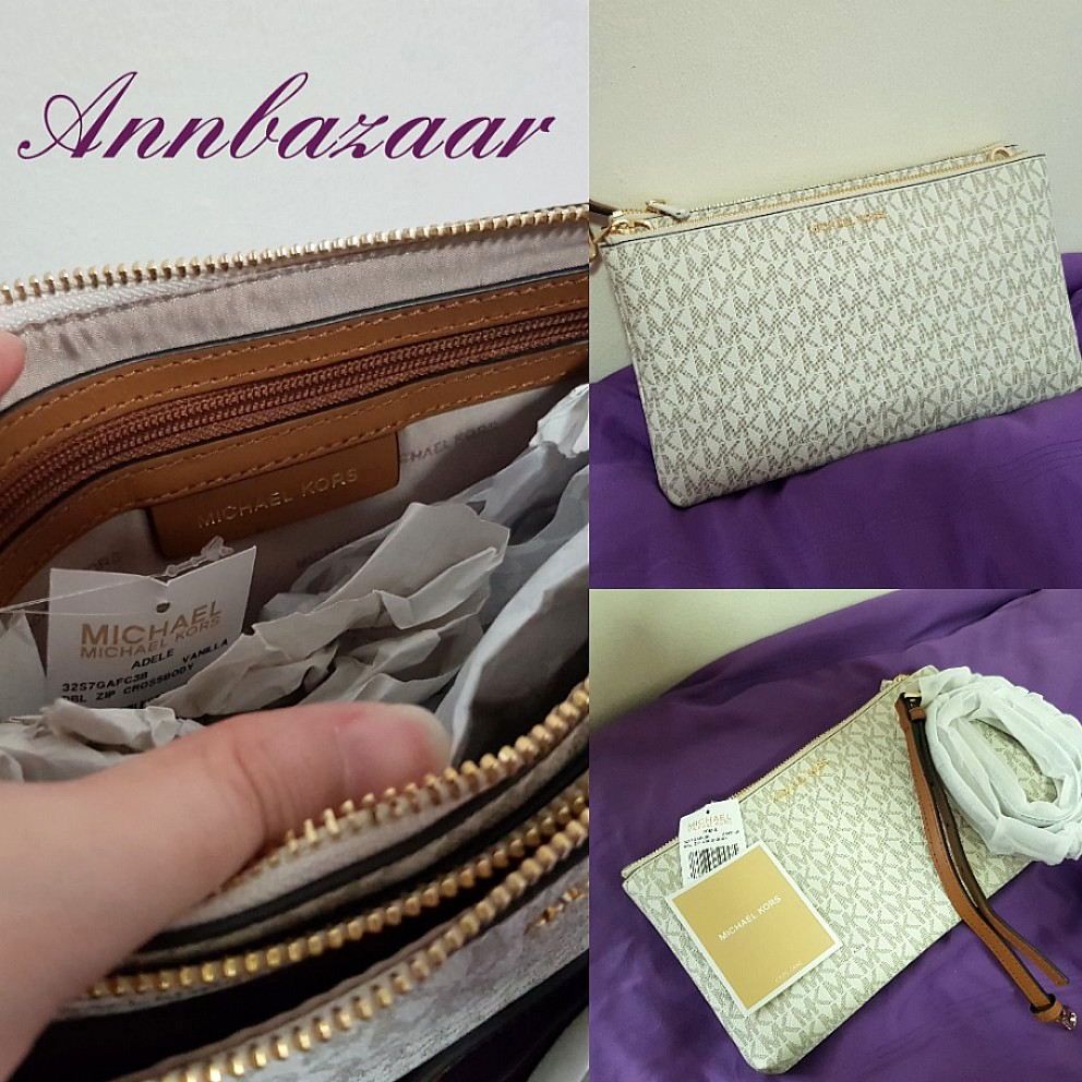 b4a091c0eab330 Michael Kors Large Adele Double Zip Crossbody Bag- Vanilla (100% Authentic)  INSTOCK!, Women's Fashion, Bags & Wallets, Sling Bags on Carousell