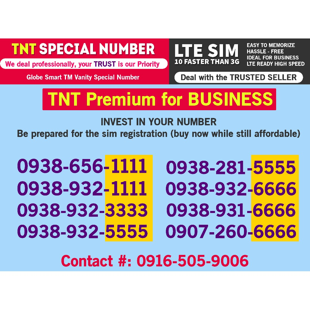 TNT Sim Special Premium Vanity phone Lucky Number Cheap Promo