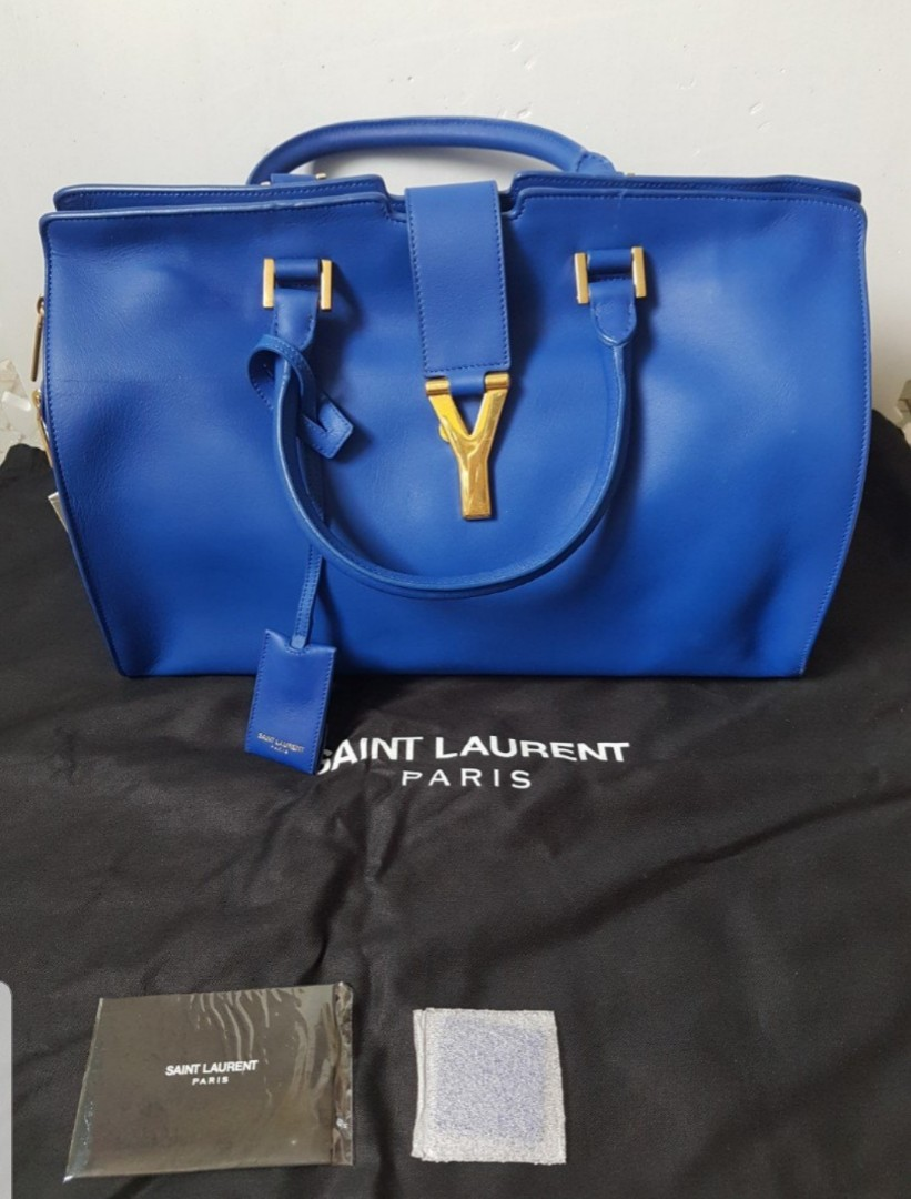 5fbb937a769 YVES SAINT LAURENT (YSL) Y Cabas Chyc Ligne Royal Cobalt Blue Leather  Medium Tote Bag Purse, Luxury, Bags & Wallets, Handbags on Carousell