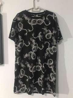 B&w Dragon T-shirt dress