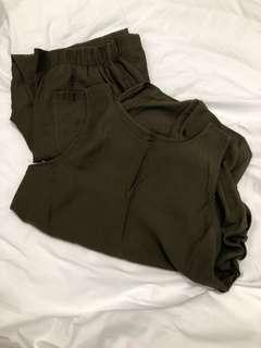 🇰🇷軍綠背心後開釦麻紗軟料長褲套裝