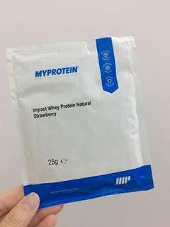 myprotein strawberry whey protein 25g 蛋白粉 獨立包裝 每分含有20g蛋白質