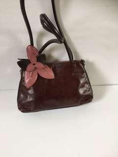 Fiori Firenze (Carlo)Women's Leather Vintage Flower Brown Handbag Shoulder
