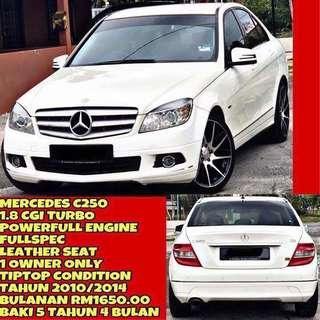 MERCEDES C250 CGI 1.8 TURBO SUPERB CONDITION FREE EXCIDENT CAREFULL OWNER SAMBUNG BAYAR / CONTINUE LOAN