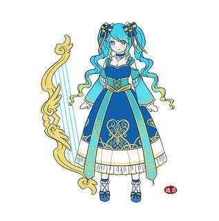 URGENT CLEARANCE Sona League of Legends Lolita Cosplay Costume and Wig