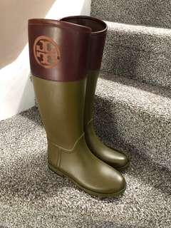 TORY BURCH rubber boots Leather LOGO