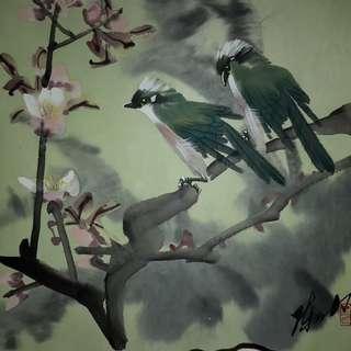 著名畫家陳人力教授 -「花鳥手卷」宣紙水彩畫