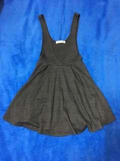 Japan Visalia 灰格紋V領吊帶裙