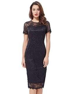 Black lace fitted scalloped dress size small