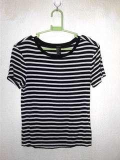 F21 b&w striped shirt