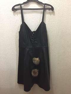 Black leather slip dress