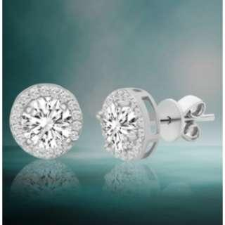 Sterling Silver Round Earrings with Swarovski Crystals