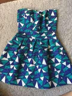 Strapless geometric dress