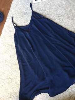 Chiffon dark blue slip dress