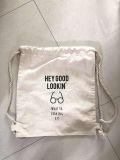 BN drawstring bag with a cute message