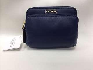 🚚 🌺絕版正品、現貨🌺  Coach 66938 Campbell 緊緻皮革 ㄇ型雙層拉鍊 卡片/零錢包 海洋藍色