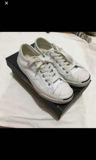 authentic converse jack purcell all white leather shoe