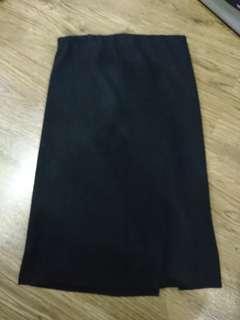 Knee length ribbed Slit pencil skirt