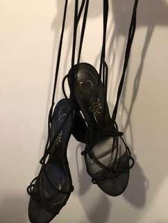 Tie up high heels