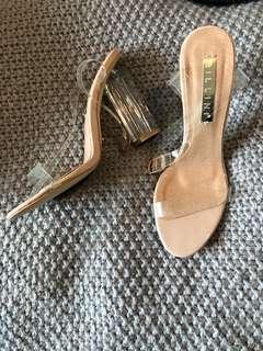 BILLINI clear/ Nude patent heels