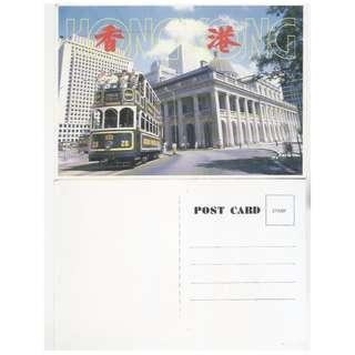 HK TRAM-28,香港明信片-遊客電車,背景-中區原最高法院,尺寸-15.3X10.6CM