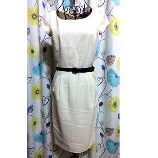 🚚 G2000 全新米白色短袖洋裝 36號