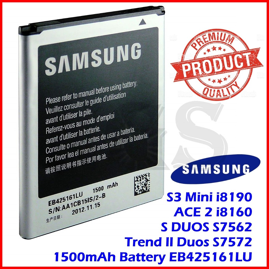 100% Ori Samsung Galaxy S3 Mini i8190 / ACE 2 i8160 / S DUOS S7562 / G318 1500mAh Battery EB425161LU, Mobile Phones & Tablets, Others on Carousell
